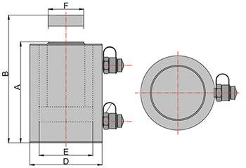 Схема домкрата грузового с гидравлическим возвратом штока ДГ